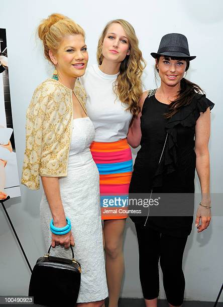 Actors Kristen Johnston Leelee Sobieski and Donnamarie Recco pose for a photo at a screening of Finding Bliss at the Museum of Sex on May 24 2010 in...