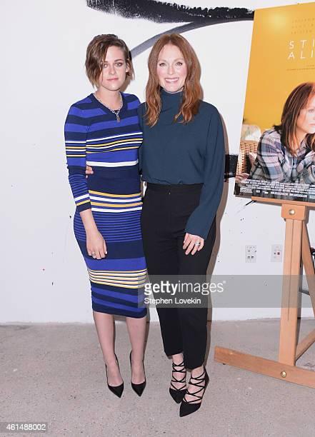 Actors Kristen Stewart and Julianne Moore attend AOL's BUILD Speaker Series Julianne Moore And Kristen Stewart at AOL Studios In New York on January...