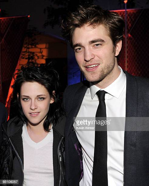 Actors Kristen Stewart and Robert Pattinson arrive at the afterparty for the premiere of Summit Entertainment's The Twilight Saga New Moon at the...