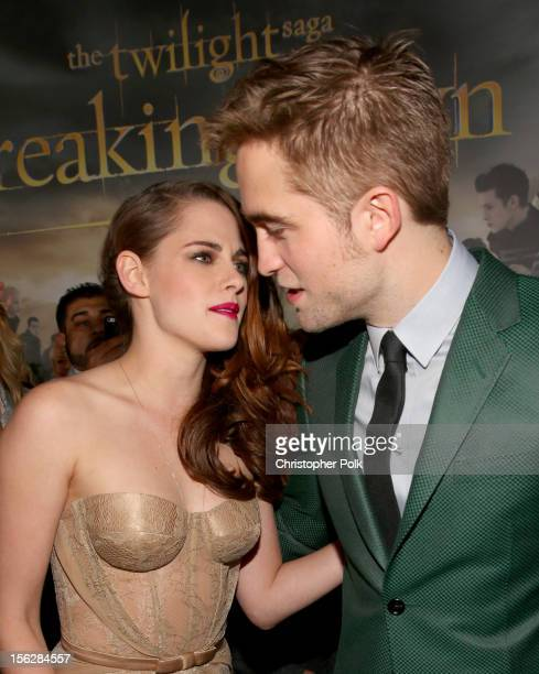 Actors Kristen Stewart and Robert Pattinson arrive at the premiere of Summit Entertainment's 'The Twilight Saga Breaking Dawn Part 2' at Nokia...