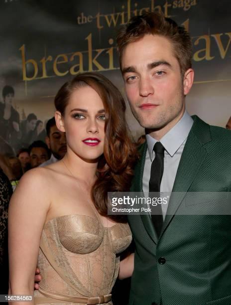 Actors Kristen Stewart and Robert Pattinson arrive at the premiere of Summit Entertainment's 'The Twilight Saga Breaking Dawn Part 2' at Nokia...