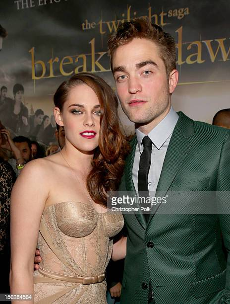 "Actors Kristen Stewart and Robert Pattinson arrive at the premiere of Summit Entertainment's ""The Twilight Saga: Breaking Dawn - Part 2"" at Nokia..."