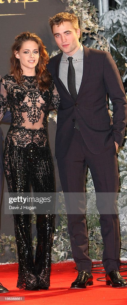Actors Kristen Stewart and Robert Pattinson attend the UK Premiere of 'The Twilight Saga: Breaking Dawn - Part 2' at Odeon Leicester Square on November 14, 2012 in London, England.