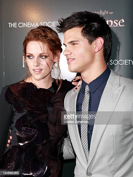 Actors Kristen Stewart and Taylor Lautner attend a screening of 'The Twilight Saga Eclipse' hosted by The Cinema Society and Piaget at the Crosby...