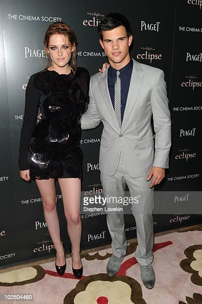 Actors Kristen Stewart and Taylor Lautner attend The Cinema Society Screening Of The Twilight Saga Eclipse at Crosby Street Hotel on June 28 2010 in...