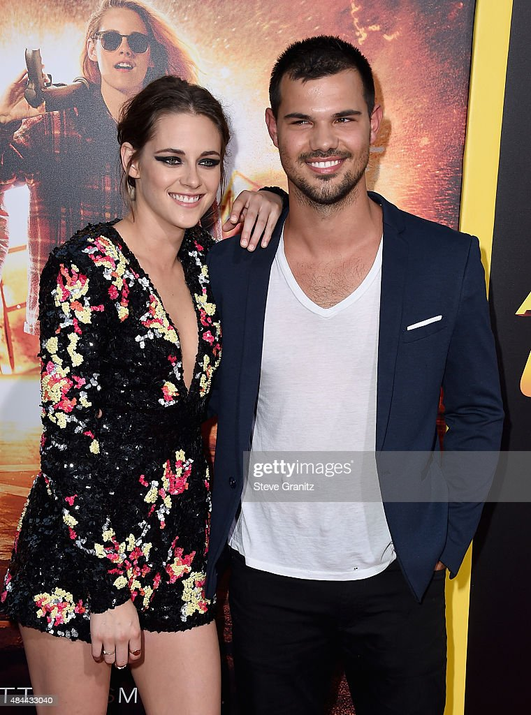 Actors Kristen Stewart and Taylor Lautner attend the premiere of Lionsgate's 'American Ultra' at Ace Theater Downtown LA on August 18, 2015 in Los Angeles, California.