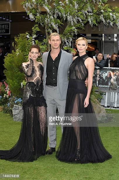 Actors Kristen Stewart, Chris Hemsworth, Charlize Theron attend the World Premiere of 'Snow White And The Huntsman' at The Empire and Odeon Leicester...