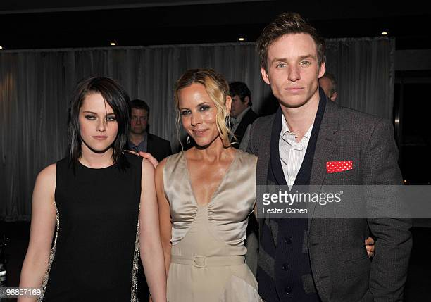 Actors Kristen Stewart Maria Bello and Eddie Redmayne attend the The Yellow Handkerchief Los Angeles premiere at Pacific Design Center on February 18...