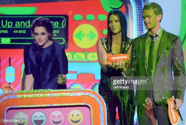 Actors Kristen Stewart Sandra Bullock and Neil Patrick Harris speak onstage at Nickelodeon's 26th Annual Kids' Choice Awards at USC Galen Center on...