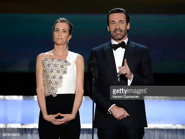 Actors Kristen Wiig and Jon Hamm speak onstage during the 22nd Annual Screen Actors Guild Awards at The Shrine Auditorium on January 30 2016 in Los...
