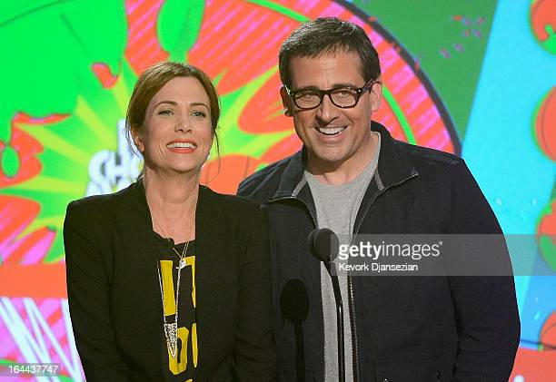 Actors Kristen Wiig and Steve Carell speak onstage during Nickelodeon's 26th Annual Kids' Choice Awards at USC Galen Center on March 23 2013 in Los...