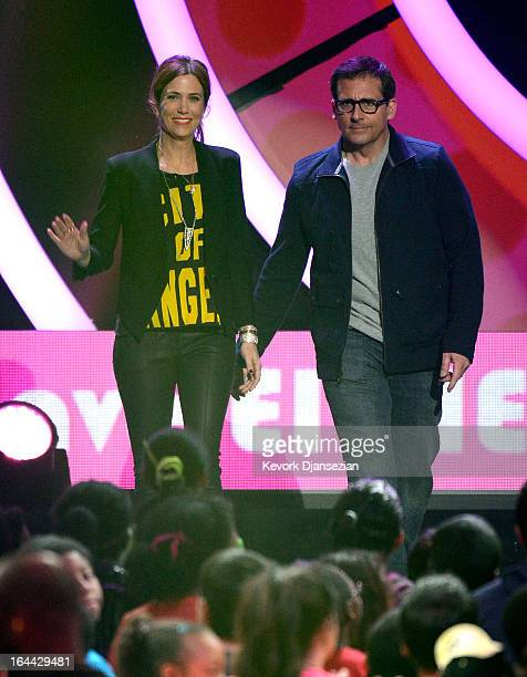 Actors Kristen Wiig and Steve Carell walk onstage during Nickelodeon's 26th Annual Kids' Choice Awards at USC Galen Center on March 23 2013 in Los...
