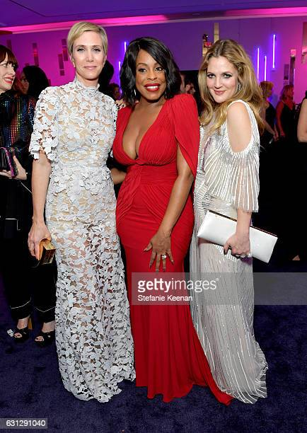 Actors Kristen Wiig Niecy Nash and Drew Barrymore attend The 2017 InStyle and Warner Bros 73rd Annual Golden Globe Awards PostParty at The Beverly...