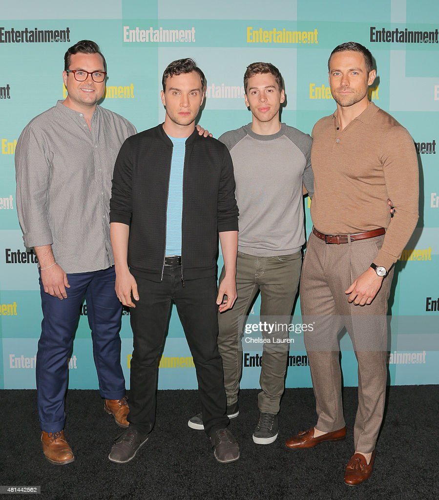Actors Kristian Bruun, Ari Millen, Jordan Gavaris and Dylan Bruce arrive at the Entertainment Weekly celebration at Float at Hard Rock Hotel San Diego on July 11, 2015 in San Diego, California.