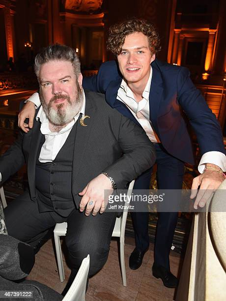 Actors Kristian Nairn and Finn Jones attend the after party for HBO's 'Game of Thrones' Season 5 at San Francisco City Hall on March 23 2015 in San...