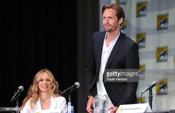 Actors Kristin Bauer and Alexander Skarsgard speak at HBO's True Blood Panel during ComicCon 2011 and the San Diego Convention Center on July 22 2011...