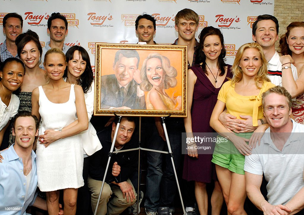 Actors Kristin Chenoweth and Sean Hayes and pose with the cast of Promises, Promises at Tony's di Napoli on May 20, 2010 in New York City.