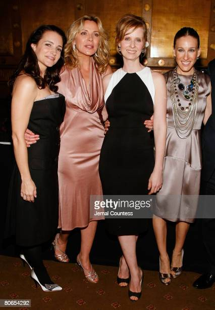 Actors Kristin Davis Kim Cattrall Cynthia Nixon and Sarah Jessica Parker pose at the Point Foundation Point Honors The Arts Benefit at Capitale on...