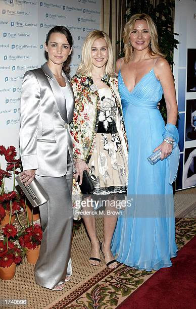 Actors Kristin Davis Sarah Jessica Parker and Kim Cattrall attend the Planned Parenthood Gala Dinner commemorating the 30th Anniversary of the Roe...