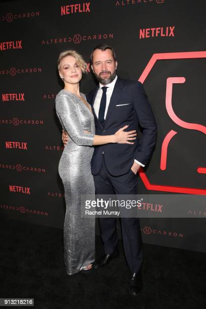 "Actors Kristin Lehman and James Purefoy attend the World Premiere of the Netflix Original Series ""Altered Carbon"" on February 1, 2018 in Los Angeles,..."