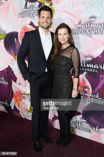 Actors Kristoffer Polaha and Julianne Morris attend Hallmark Channel and Hallmark Movies and Mysteries Winter 2018 TCA Press Tour at Tournament House...