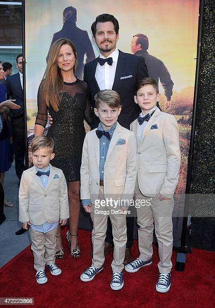 Actors Kristoffer Polaha Julianne Morris and sons Micah Polaha Kristoffer Caleb Polaha and Jude Polaha arrive at the Los Angeles premiere of Where...