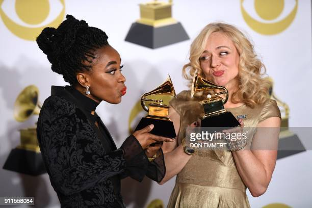 TOPSHOT Actors Kristolyn Lloyd and Rachel Bay Jones pose with the Best Musical Theater Album trophy for 'Dear Evan Hansen' in the press room during...