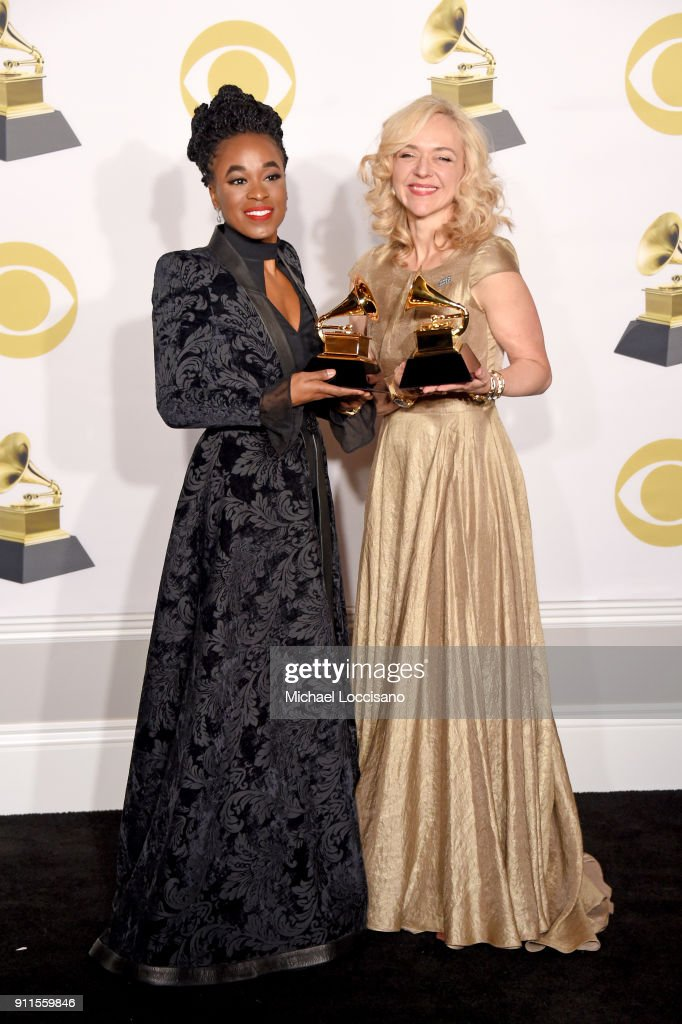 Actors Kristolyn Lloyd (L) and Rachel Bay Jones, winners of the Best Musical Theater Album award for 'Dear Evan Hansen,' pose in the press room during the 60th Annual GRAMMY Awards at Madison Square Garden on January 28, 2018 in New York City.