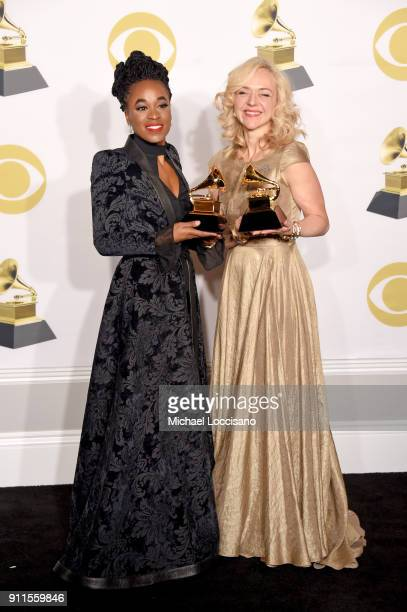 Actors Kristolyn Lloyd and Rachel Bay Jones winners of the Best Musical Theater Album award for 'Dear Evan Hansen' pose in the press room during the...