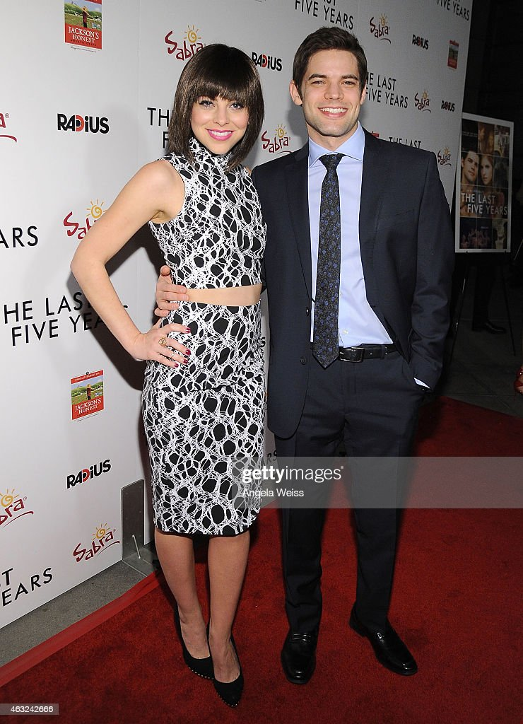 Actors Krysta Rodriguez (L) and Jeremy Jordan attend the premiere of RADiUS' 'The Last Five Years' at ArcLight Hollywood on February 11, 2015 in Hollywood, California.