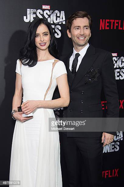 Actors Krysten Ritter and David Tennant attend the 'Jessica Jones' series premiere at Regal EWalk on November 17 2015 in New York City