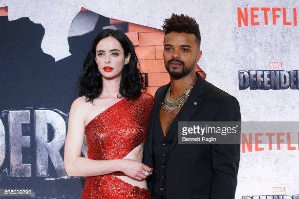 Actors Krysten Ritter and Eka Darville attends the Marvel's The Defenders New York premiere at Tribeca Performing Arts Center on July 31 2017 in New...