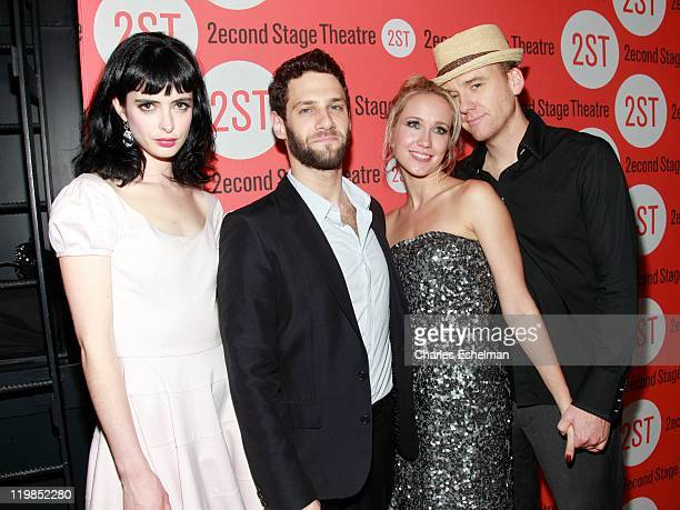 Actors Krysten Ritter Justin Bartha Anna Camp and David Wilson Barnes attend the All New People opening night after party at HB Burger on July 25...
