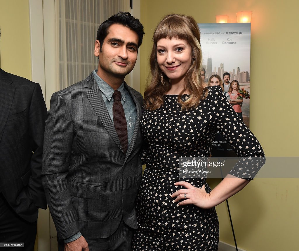 Actors Kumail Nanjiani (L) and Emily V. Gordon attend The Big Sick Cocktail Reception at The Chateau Marmont on December 11, 2017 in Los Angeles, California.