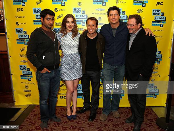 Actors Kumail Nanjiani and Gillian Jacobs writer/director Jacob Vaughan and actors Ken Marino and Stephen Root pose in the greenroom at the screening...