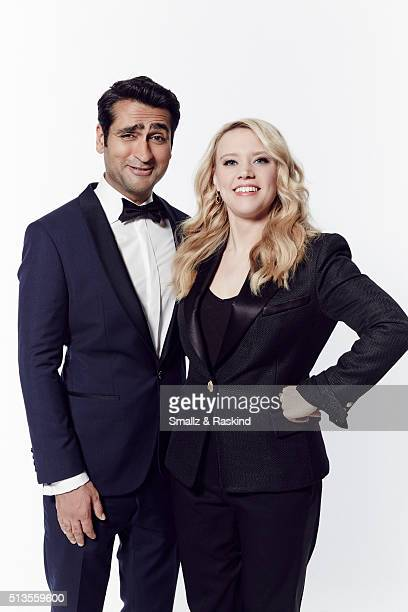 Actors Kumail Nanjiani and Kate McKinnon pose for a portrait at the 2016 Film Independent Spirit Awards on February 27 2016 in Santa Monica California