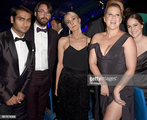 Actors Kumail Nanjiani and Martin Starr comedians Nikki Glaser and Amy Schumer and Kim Caramele attend HBO's Official 2016 Emmy After Party at The...