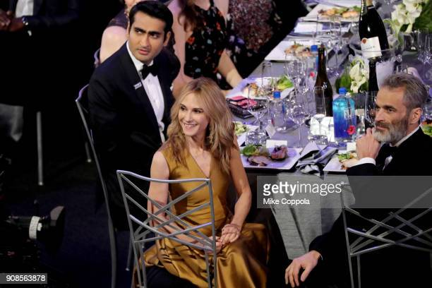 Actors Kumail Nanjiani, Holly Hunter and Gordon MacDonald during the 24th Annual Screen Actors Guild Awards at The Shrine Auditorium on January 21,...
