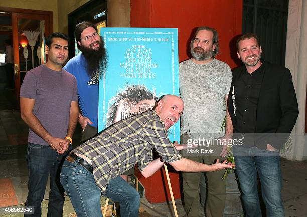 Actors Kumail Nanjiani Spencer Crittenden Rob Schrab producer Neil Berkeley and actor Dan Harmon attend the special screening of The Orchard's...