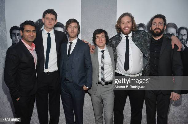 Actors Kumail Nanjiani Zach Woods Thomas Middleditch Josh Brener TJ Miller and Martin Starr attend the Premiere of HBO's Silicon Valley at Paramount...