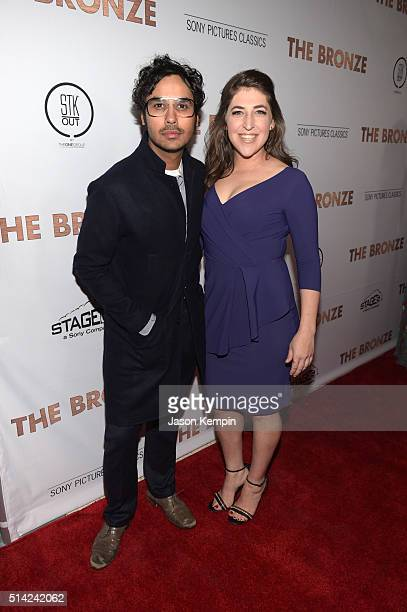 """Actors Kunal Nayyar and Mayim Bialik attend the premiere of Sony Pictures Classics' """"The Bronze"""" at the Regent Theater on March 7, 2016 in Los..."""