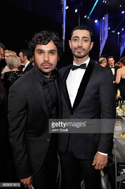 Actors Kunal Nayyar and Riz Ahmed attend The 23rd Annual Screen Actors Guild Awards Cocktail Reception at The Shrine Auditorium on January 29 2017 in...