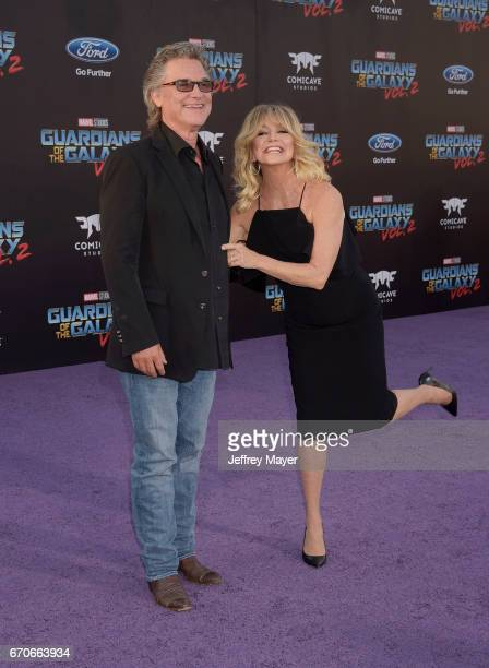 Actors Kurt Russell and Goldie Hawn arrive at the Premiere Of Disney And Marvel's 'Guardians Of The Galaxy Vol. 2' at Dolby Theatre on April 19, 2017...