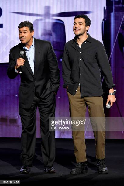 Actors Kyle Chandler and Christopher Abbott speak onstage during Hulu Upfront 2018 at The Hulu Theater at Madison Square Garden on May 2 2018 in New...