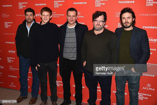 Actors Kyle Chandler Lucas Hedges producer Matt Damon writer/director Kenneth Lonergan and actor Casey Affleck attend the Manchester By The Sea...
