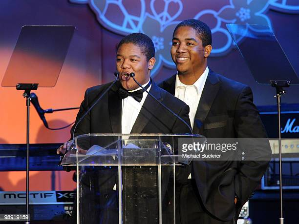 Actors Kyle Massey and Chris Massey speak onstage during the 17th Annual Race to Erase MS event cochaired by Nancy Davis and Tommy Hilfiger at the...
