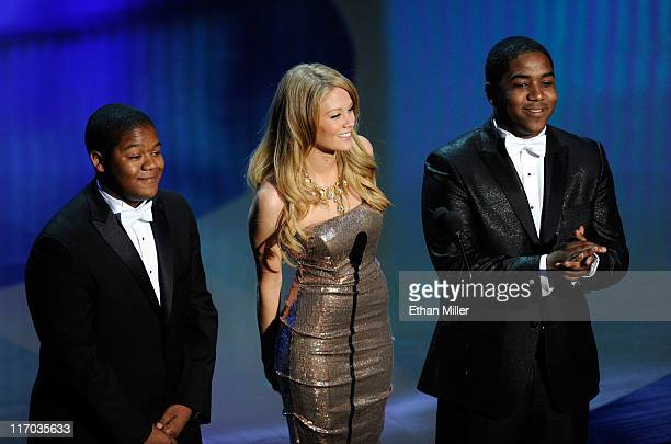Actors Kyle Massey Kim Matula and Chris Massey speak onstage during the 38th Annual Daytime Entertainment Emmy Awards held at the Las Vegas Hilton on...