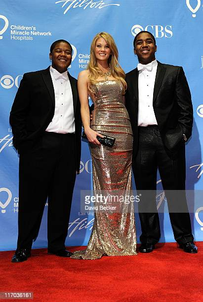 Actors Kyle Massey Kim Matula and Christopher Massey pose in the press room at the 38th Annual Daytime Entertainment Emmy Awards held at the Las...