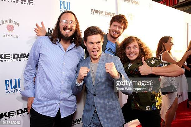 Actors Kyle Newacheck Adam Devine Anders Holm and Blake Anderson attend the premiere of 20th Century Fox's Mike and Dave Need Wedding Dates at...