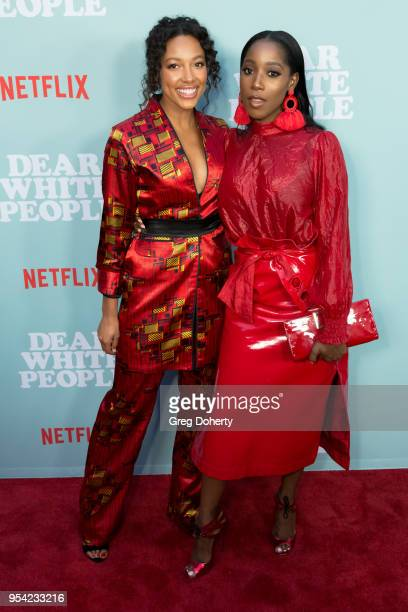 """Actors Kylie Bunbury and Ashley Blaine Featherson attend the """"Dear White People"""" Season 2 Special Screening on May 2, 2018 in Hollywood, California."""